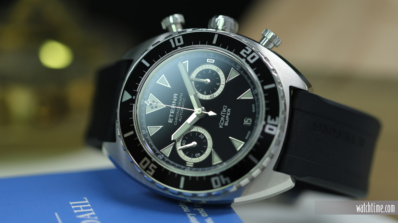 Eterna Super KonTiki Chronograph - Black Dial - Reclining